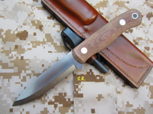 Bushcraft PSRK, Lederscheide, light brown, Klinge